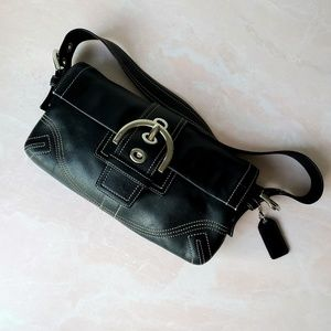Black Rectangle Coach Bag with Stitching